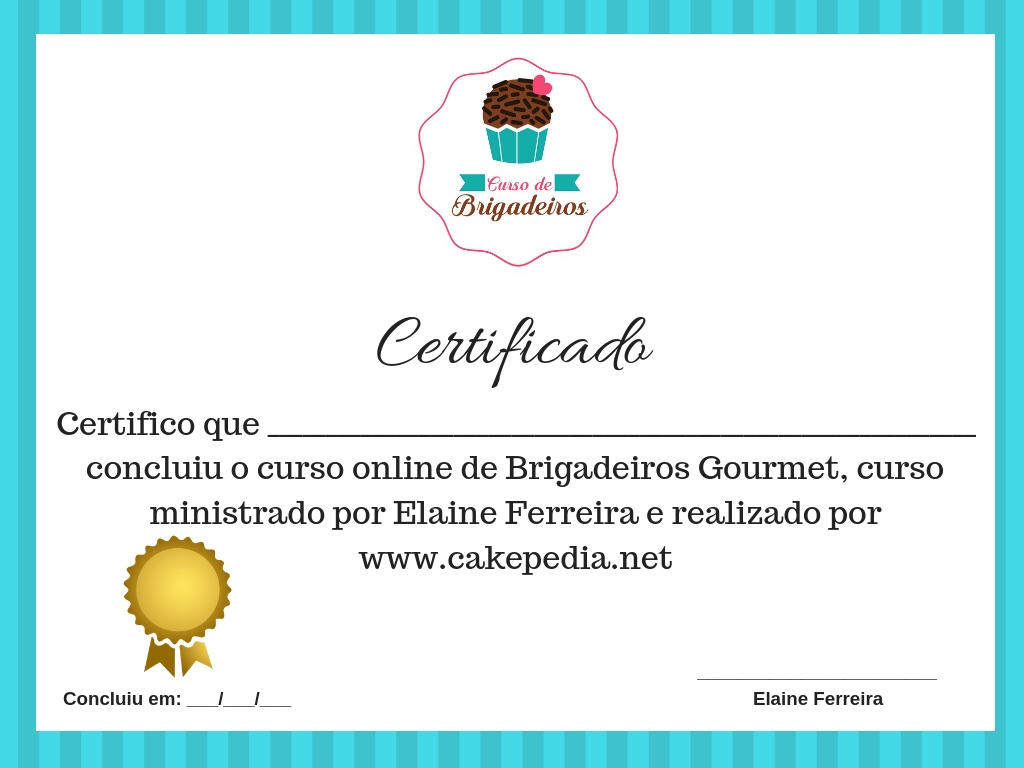 Certificado do curso de bolos no pote